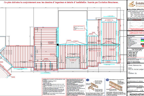 Floor joists, beams and joists assembly plan - Laval, Montréal